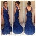 Longue Robe De Soirée 2017 Nueva Primavera de Encaje Azul Vestido de Noche Sexy V-cuello de La Sirena Mujeres Vestido Longo De Renda Largo Vestido de Fiesta