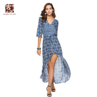 Jiqiuguer Women Floral Print Boho Dresses Vintage Plus Size V Neck Half Sleeve Loose Long Casual