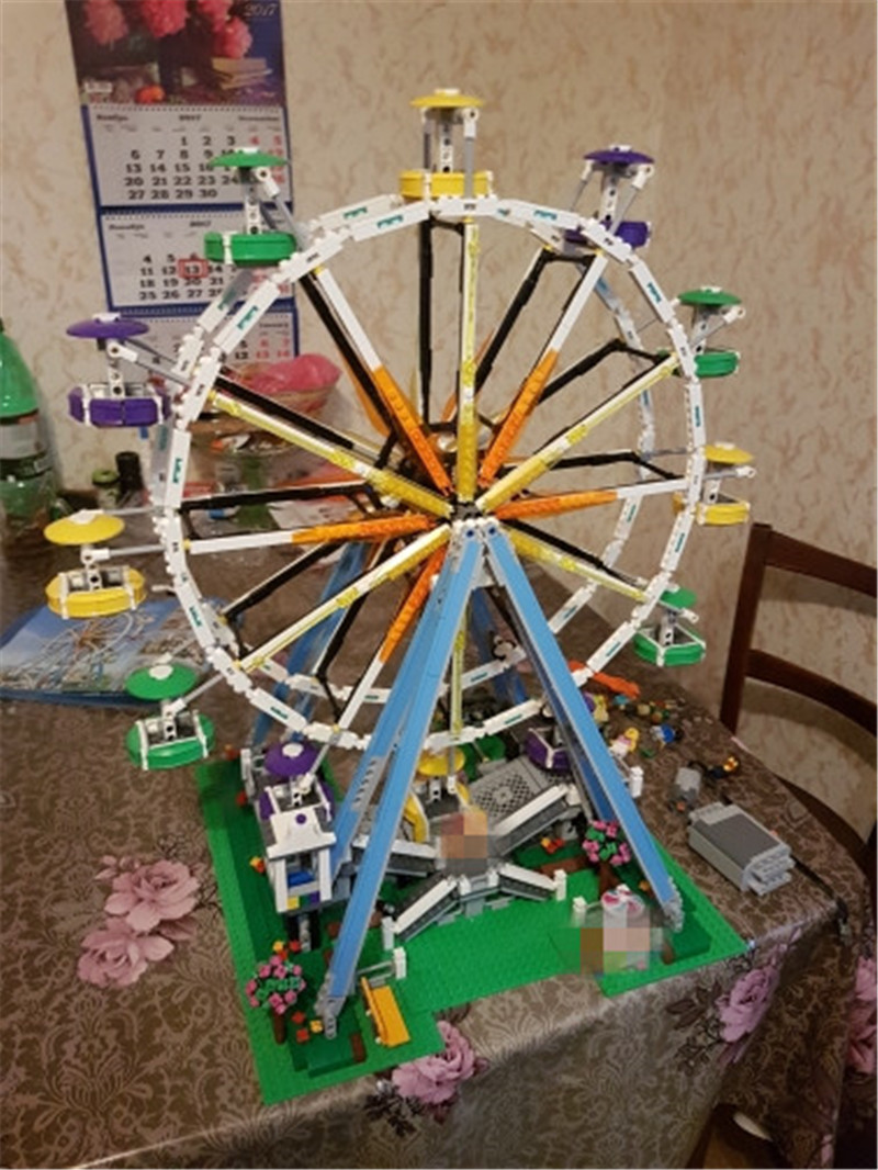 City Street View Expert Ferris Wheel Model Building Kits Assembling Block Bricks Compatible Lepins Educational Funny Toy Boys lepin 15009 city street pet shop model building kid blocks bricks assembling toys compatible 10218 educational toy funny gift