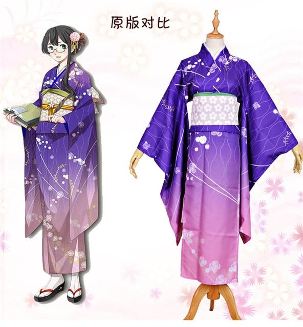 Collection cosplay costume Halloween anime Japanese Kimono dress cloth free shipping purple on ...