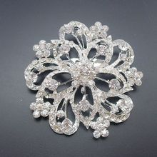 Large Flower Rhinestone Rhodium Plated Crystal Brooch Promotional Jewelry Pin, Item No.: BH7337