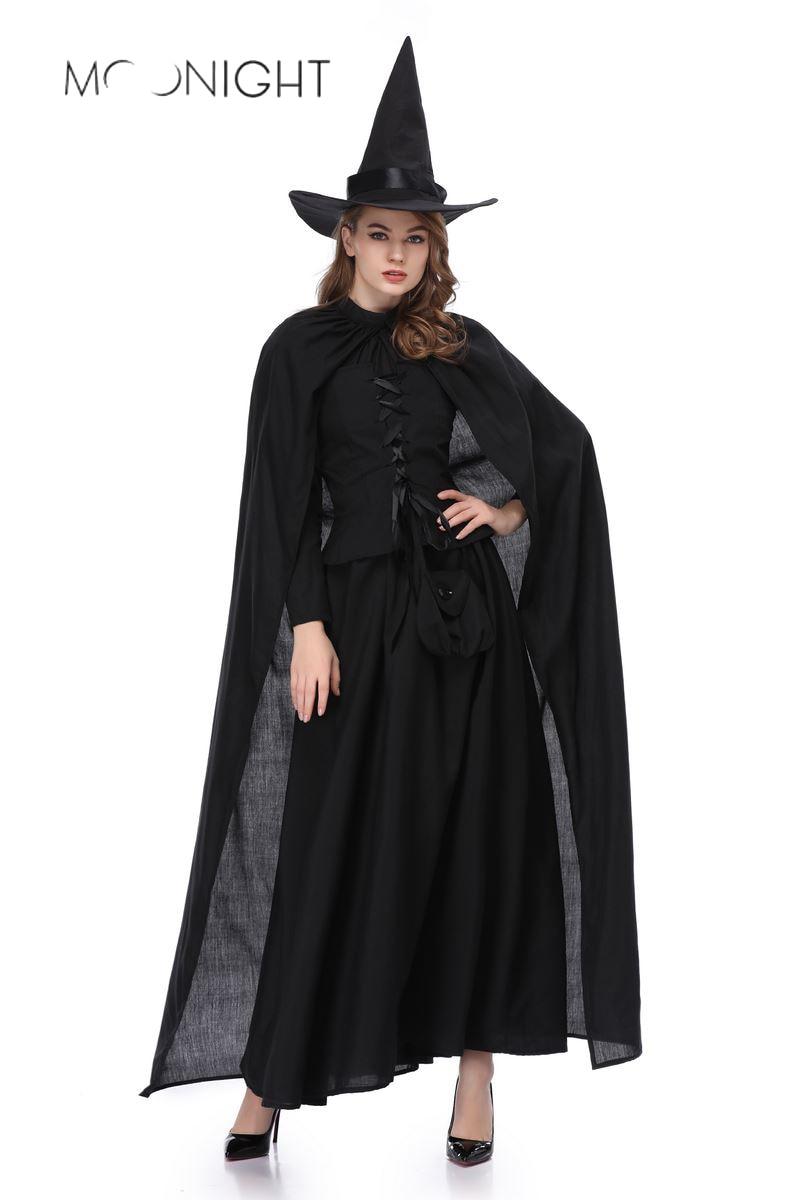 MOONIGHT New Dress Women Black Queen Witch Dress Sorceress Cosplay Adult Halloween Fancy Party Costume