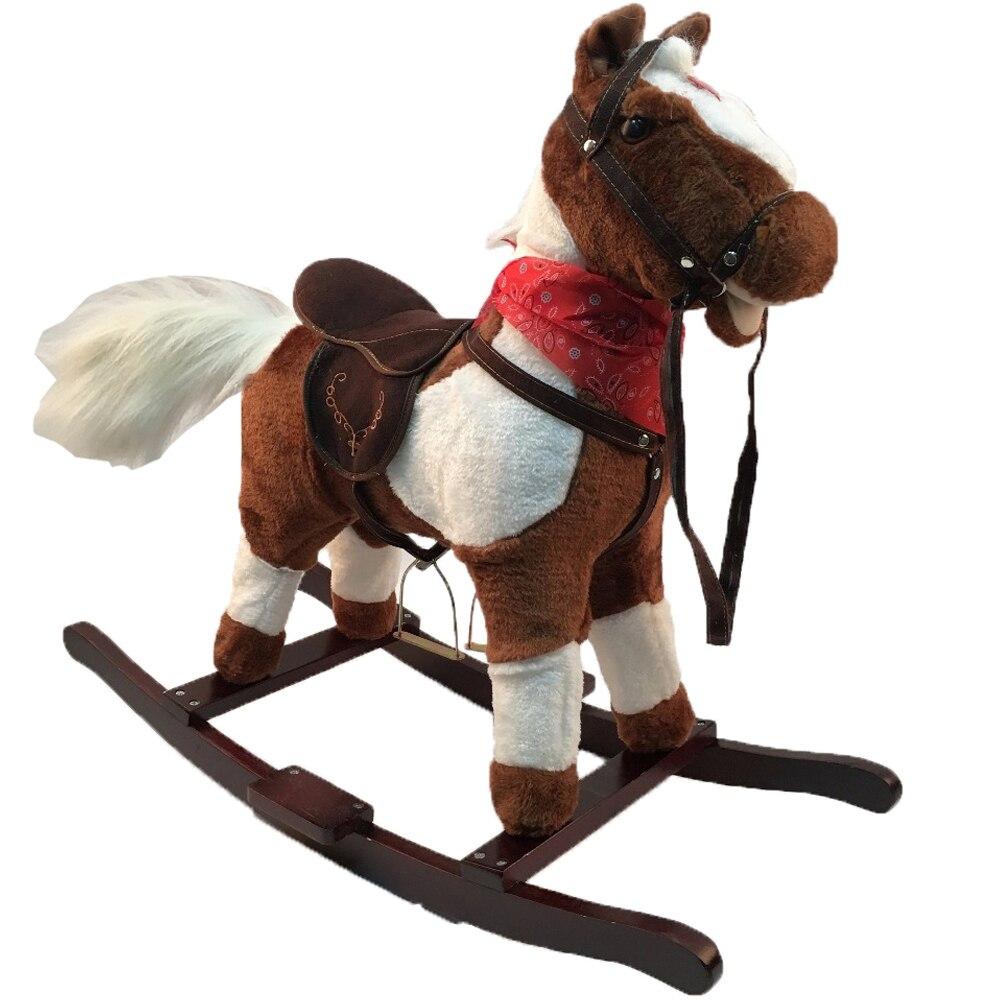 Peluche musique bébé à bascule chevaux intérieur et extérieur parc d'attractions animaux équitation jouets pour 3-8 Y enfants cadeaux d'anniversaire de noël