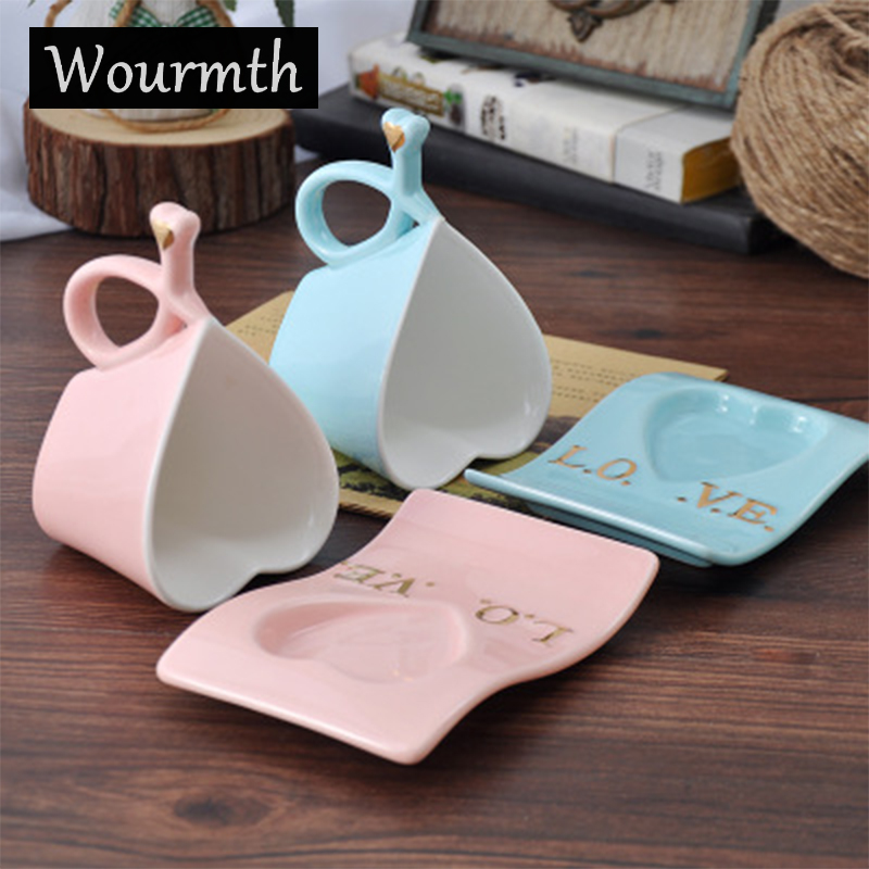 Wourmth Ceramic <font><b>Cups</b></font> And Saucers Blue and pink/set Afternoon tea time Black Tea Set Heart-shaped lovers <font><b>cup</b></font> <font><b>Porcelain</b></font> image