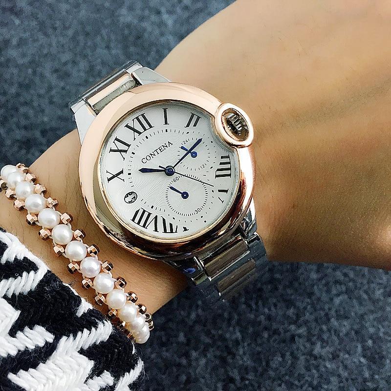 Classical Calendar Business Women's Watches Contena Luxury British Style Wristwatch Roman Number Ladies Watch Hour Hodinky Femme