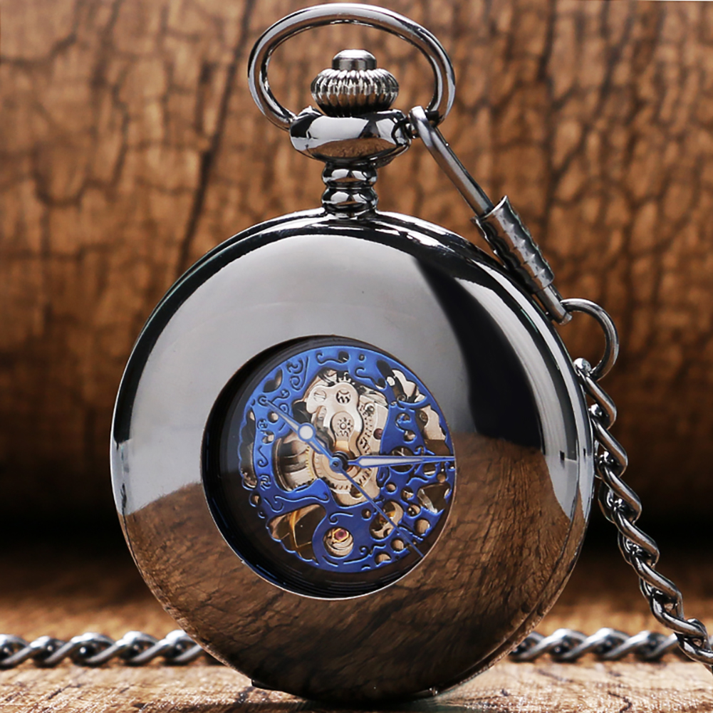 Smooth Black Half Hunter Mechanical Pocket Watch Self Winding Blue Roman Numerals Display Dial Vintage Pendant Pocket Clock Male
