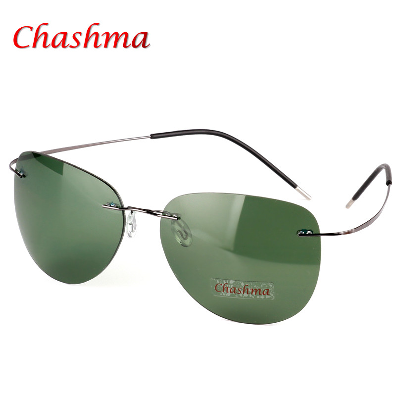 Brand Designer Aviator Eye Glasses Ultra Light Rimless Glasses Titanium frame Polarized Sunglasses Men Gafas Oculos de sol