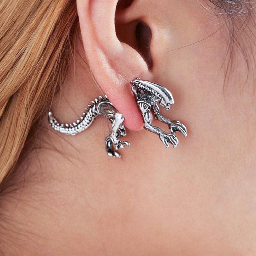 3 Colors Alien Earrings Dinosaur Earring Black Enamel Stud ...
