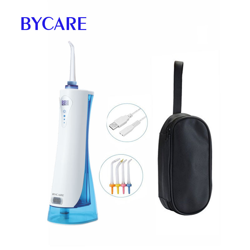 BYCARE LED dispaly oral irrigation device oral care electric water flosser with 220ml and 4 tips 2017 teeth whitening oral irrigator electric teeth cleaning machine irrigador dental water flosser professional teeth care tools