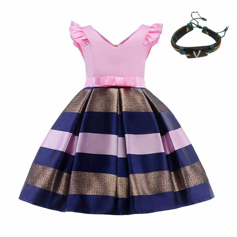 Multicolor Bebê meninas vestido sem mangas verão 2018 primeira comunhão vestidos para meninas Miúdos Desgaste Formal Vestido de Princesa + Pulseiras