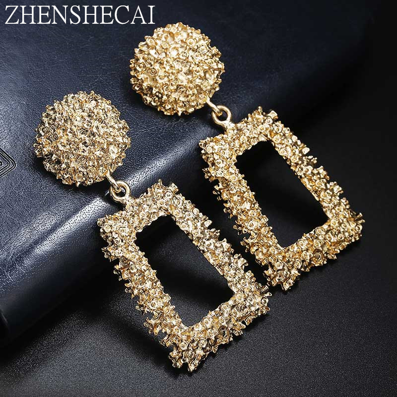 Big Vintage Earrings for Women Gold Silver Geometric Statement Earring 2018 Metal Earring Hanging Fashion Jewelry whokesale(China)