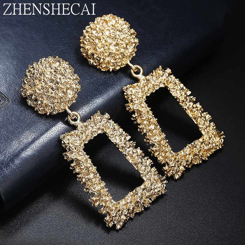 Big Vintage Earrings for Women Gold Silver Geometric Statement Earring 2018 Metal Earring Hanging Fashion Jewelry whokesale