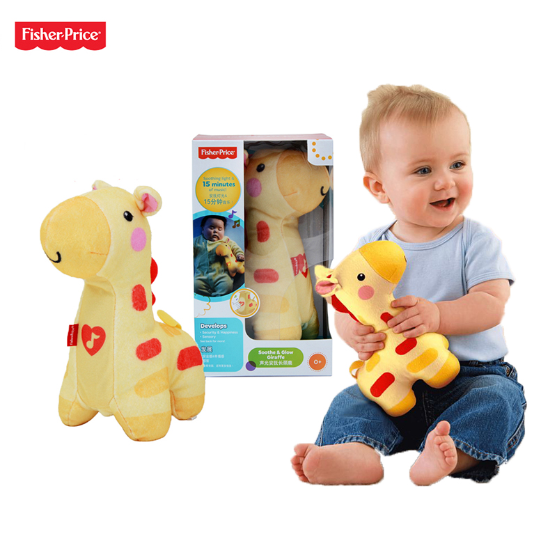 Original Fisher Price Baby Soothe and Glow Giraffe Musical Baby Toys 0-12 Months Educational Toys Peluche Doll fisher price soothe & glow seahorse