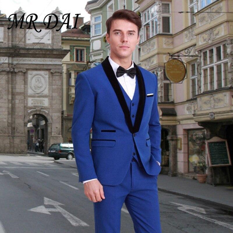 MD-040 Arrival Groomsmen Shawl Black Lapel Groom Tuxedos Royal Blue Men Suits Wedding Best Man Blazer (Jacket+Pants+bow+Vest)
