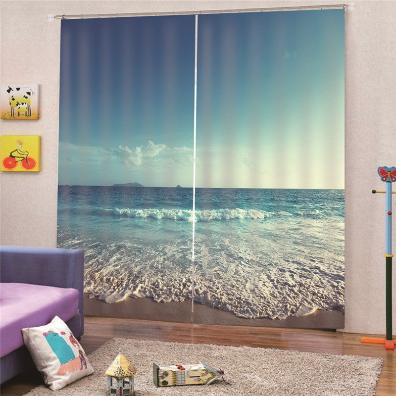 Gelernt 3d Digital Print Ozean Vorhang Fenster Wohnzimmer Jacquard Stoffe Luxus Semi-blackout Vorhänge Panel Schlafzimmer M15 Haus & Garten