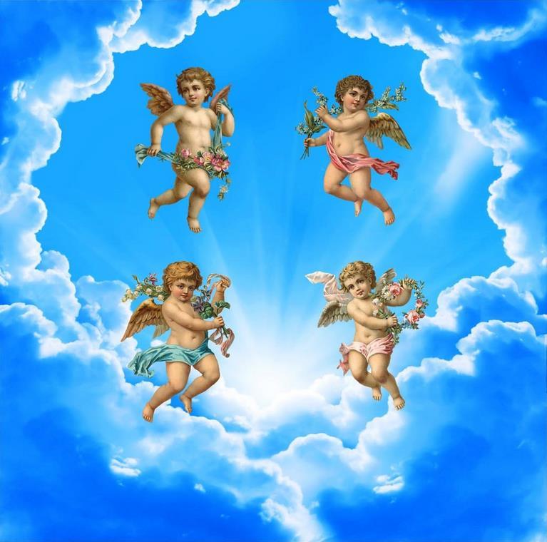 Открытка, картинка ангелы на облаках