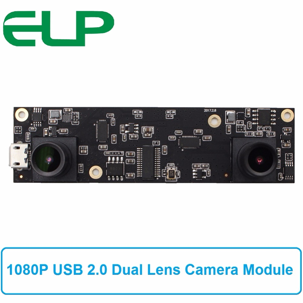 ELP 2MP HD 1080P AR0330 Dual Lens Plug and play Stereo Camera Micro Mini Industrial USB 2.0 Camera Module for 3D VR Application купить в Москве 2019