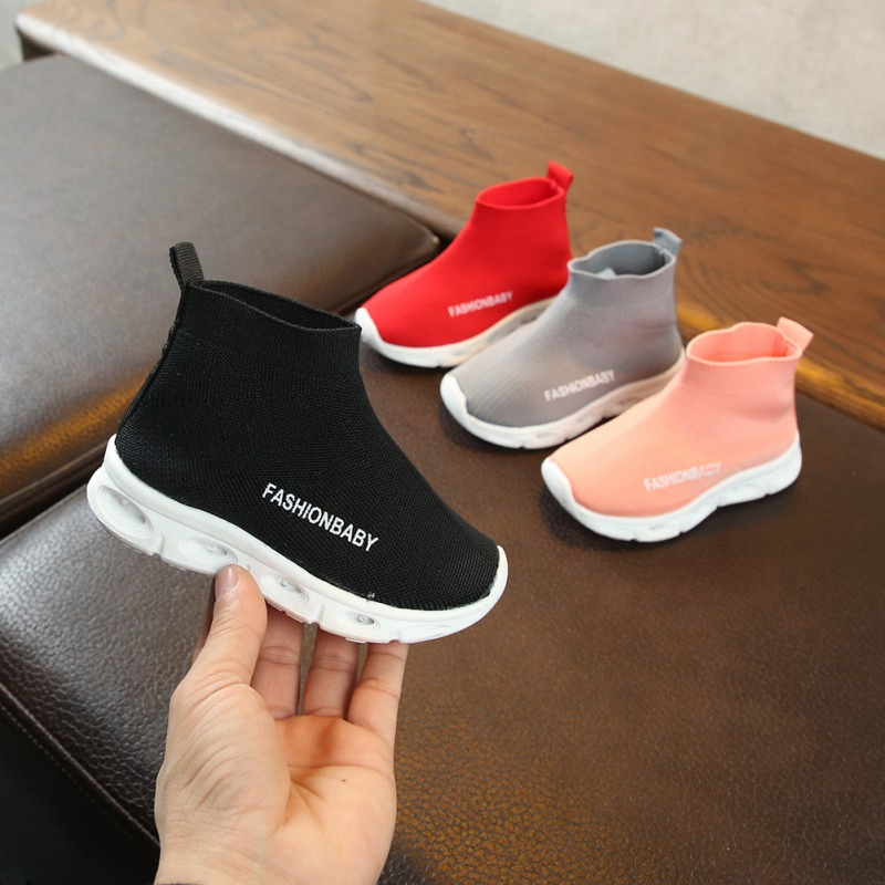 New Kids Shoes Casual Children's Shoes Fashionable LED Light Net Breathable Children's Sneakers Soft Sports Walking Shoes