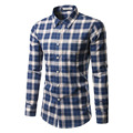 100% Cotton TUNEVUSE Brand Plaid Casual Wear Shirt For Men  Long Sleeved 2016 Autumn New Arrival Slim fit  Male Shirts Size XS-L