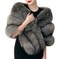 Luxury Elegant Gray Faux Fur Pashmina Thick Warm Fur Shawl Waistcoat Women Winter Fur Coat Gilet Cape Coat Outwear Wraps