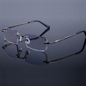 Image 4 - Fashion Eyeglasses Diamond Trimming Cutting Rimless Eyeglasses Prescription Optical Glasses Frame for Men Eyewear