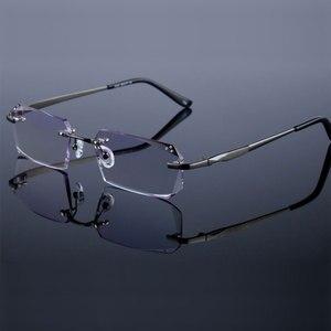 Image 4 - Occhiali di modo Diamante Guarnizioni di Taglio Senza Montatura Occhiali Da Vista Ottica Occhiali Cornice per Gli Uomini Occhiali