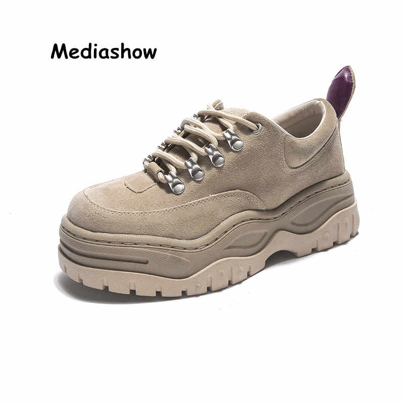 2018 high quality Spring Autumn Women Shoes Suede Leather Sneakers Fashion  Lace-up Thick 306fbbdabaef