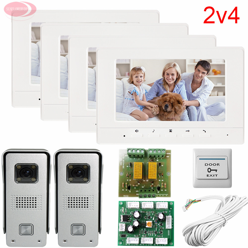 2v4 Apartment Video Door Phone Intercom System Two 700lines HD Outdoor Units Four 7