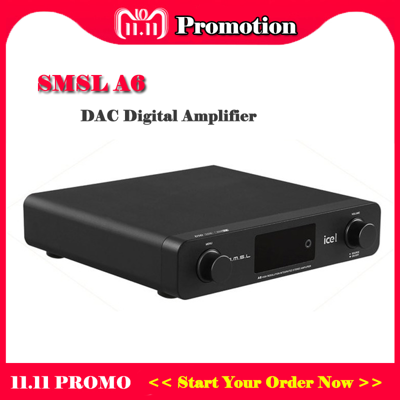 SMSL A6 Hi fi Digital Power Amplifier Desktop AK4452 USB DAC Audio Amplifiers DSD DAC USB Optical Coaxial Phono CD input fiio q1 mark ii hi res audio native dac dsd headphone amplifier xmos 384 khz 32 bit for iphone ipad pc ak4452 q1ii