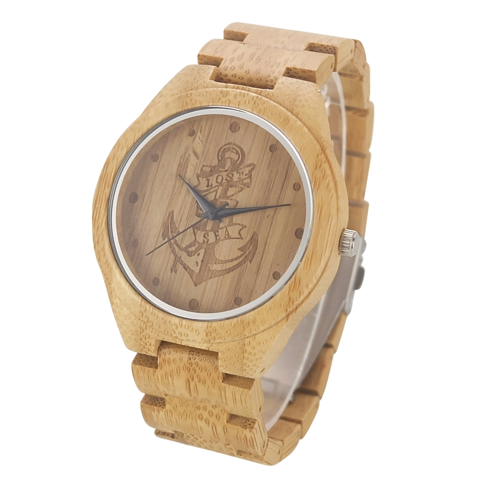 73055852edf 2018 Hot Sell Men Full Wooden Watch Lost At Sea Anchor Wood Watch ...