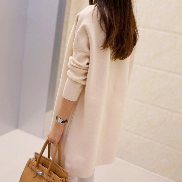 2017 primavera e no outono de médio-longo camisola solta cardigan feminino longo-luva das mulheres camisola outerwear de espessura