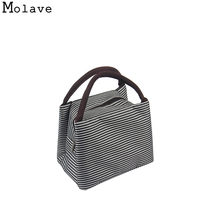 Striped Cold Insulation Bag Lunch Bags Danibos Solid Ice Pack Lunch Tote Bag Travel School Zipper Picnic Lunch Bag SEPP29(China)
