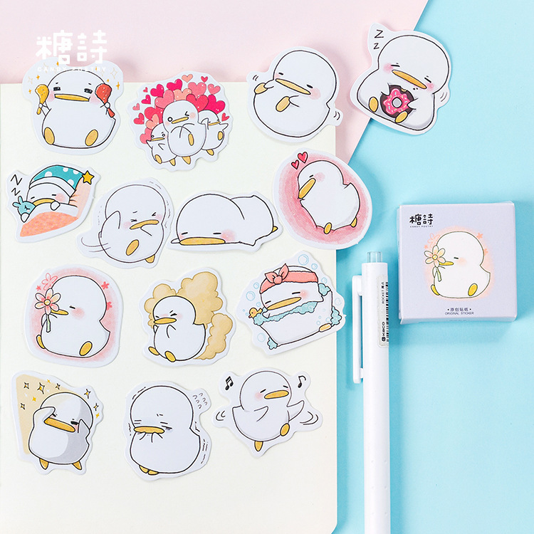 45 Pcs/lot Cute Little Duck Mini Sticker Decoration DIY Scrapbooking Sticker Stationery Kawaii Diary Label Stickers 38 pcs stickers bag diy cute happy birthday scrapbook paper stationery crafts and scrapbooking decorative sticker for decoration