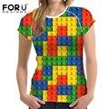 FORUDESIGNS майка 2017 Новая Мода 3D Lego Печати Женщины T рубашка Стильные Футболки для Дам Красочные Коротким Рукавом Женщин Топ Тройники