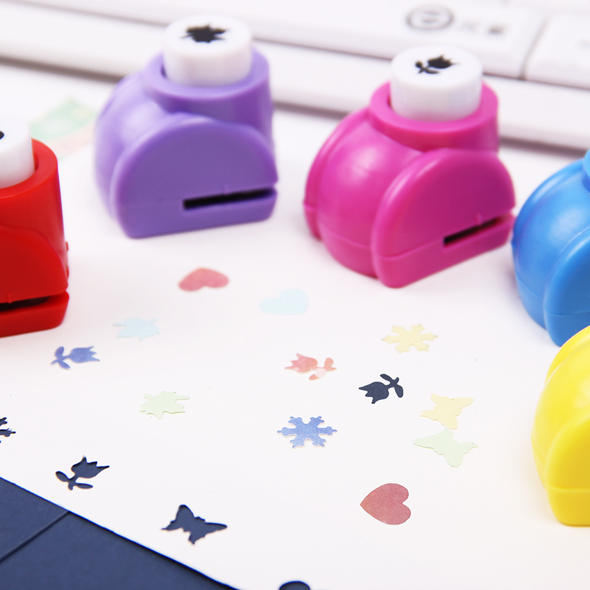 Kid Child Mini Printing Paper Hand Puncher Scrapbook Tags Cards Craft DIY Punch Cutter Tool 6 Styles Hole Punch in Hole Punch from Office School Supplies