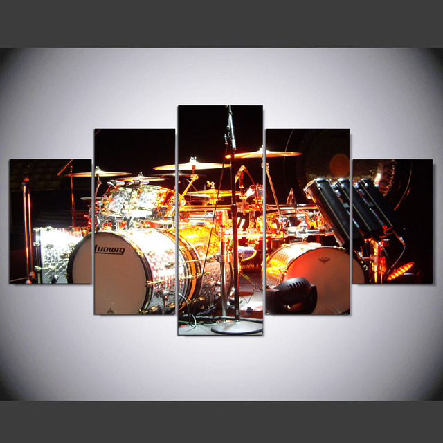 5 Panel HD Drum Kit Printed Painting Canvas Home Decor Wall Art Picture For Living Room