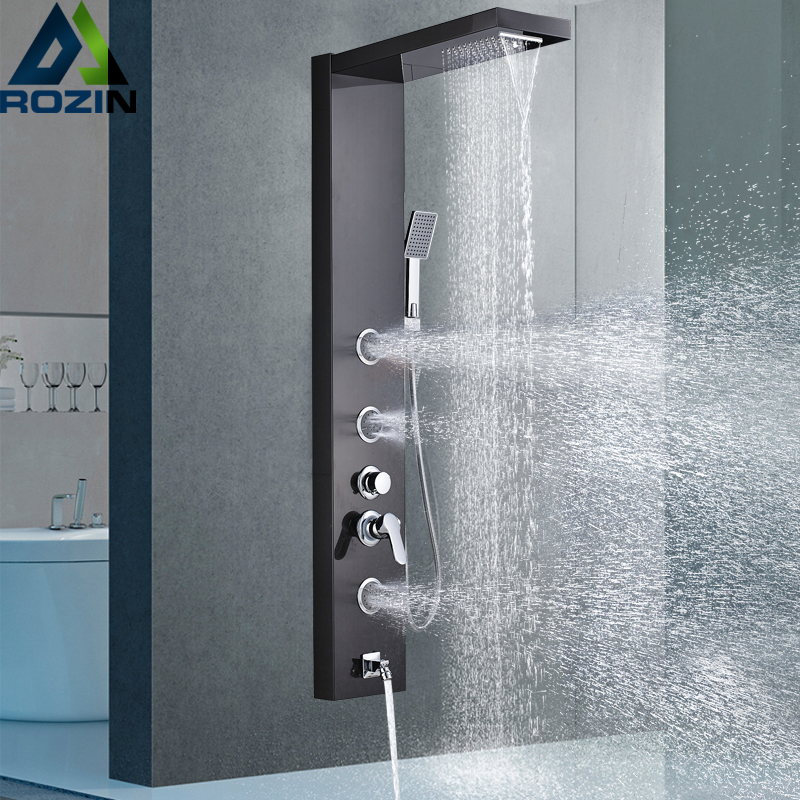 Brushed Nickel Shower Panel Shower Column Wall Mounted Rain Waterfall Shower Faucet Tower Single Handle Mixer Faucet