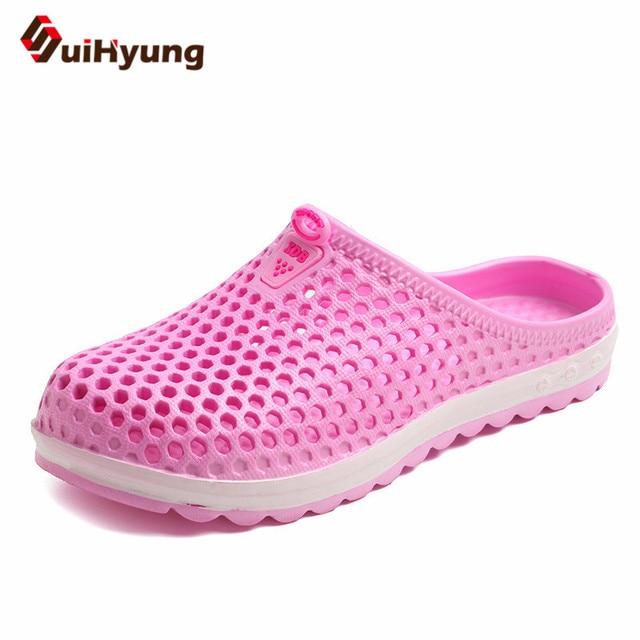 Suihyung ผู้หญิงฤดูร้อนรองเท้าสบายๆรองเท้าแตะรองเท้าแตะรองเท้าแตะ Hole รองเท้านวดสุภาพสตรีแบนนุ่ม EVA รองเท้าแตะพลิกพลิก