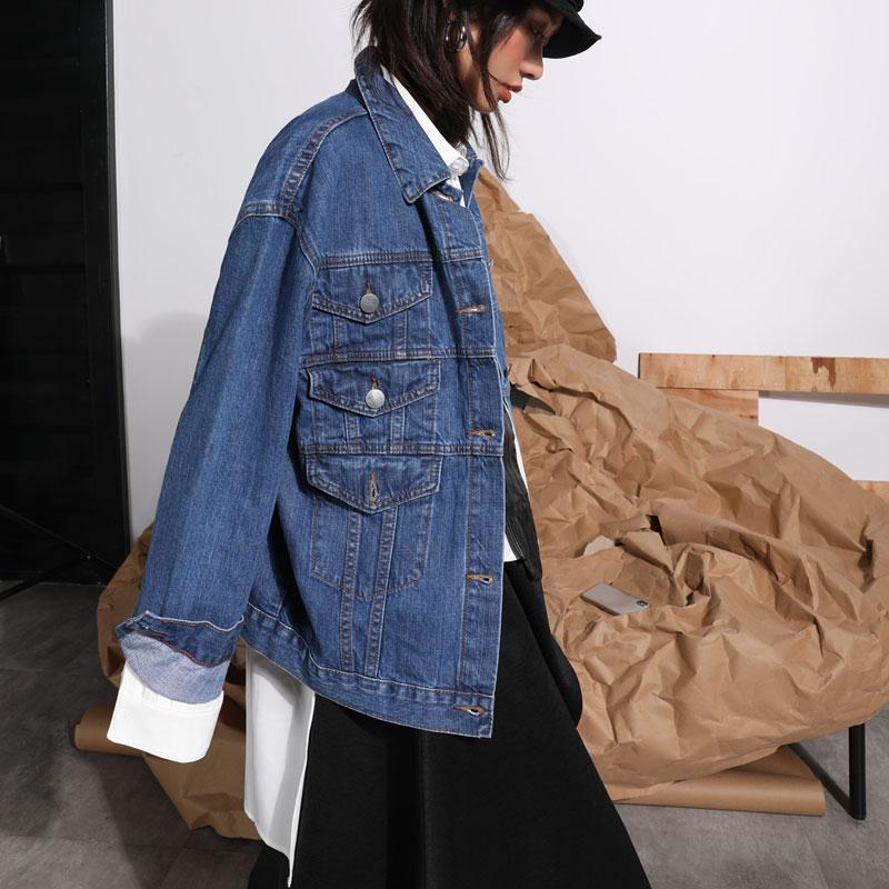 Femmes Veste down Collar Blue 2019 Manteau Turn Pleine Lâche Femelle Dll2858 Solide Unique xitaoMode Manches Couleur Breasted Nouvelles Printemps ED9IYW2H
