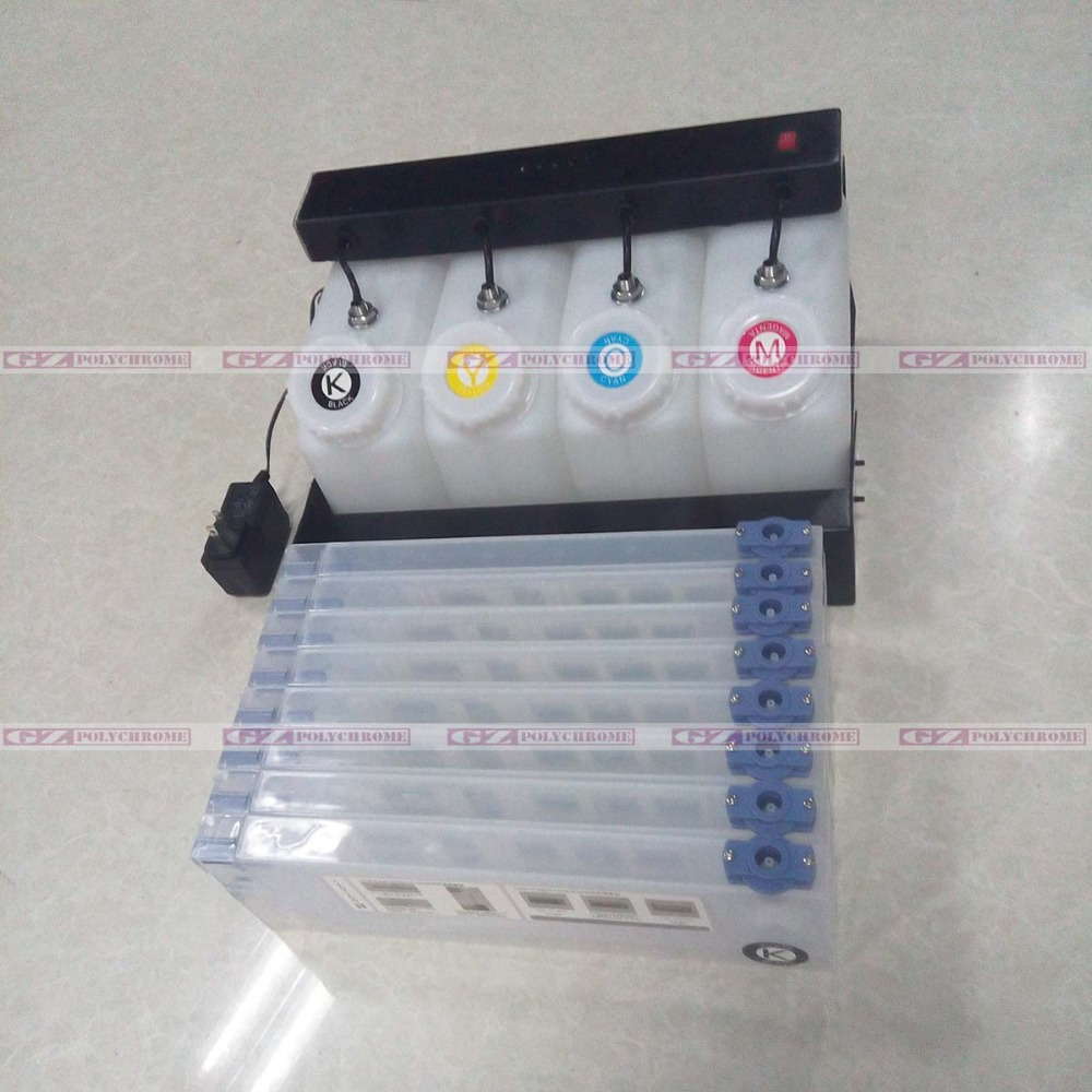 Printer Continuous Ink Supply System CISS 4 Bulk Ink Tank and 8 Ink Cartridge Abssembly System for Roland Mimaki Mutoh Inkjet printer ink pump for roland sp300 540 vp300 540 xc540 cj740 640 rs640 540 solvent ink
