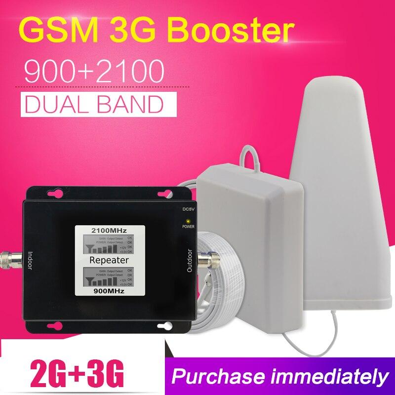 500 platz Meter 2g 3g GSM 900 WCDMA 2100 Dual Band Handy Signal Repeater GSM 3g UMTS Zellulären Booster Verstärker Antenne