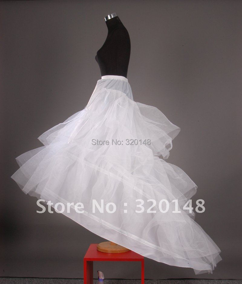 Hp 41006 ball gown 3 tier tulle court train wedding dress for Tulle petticoat for wedding dress