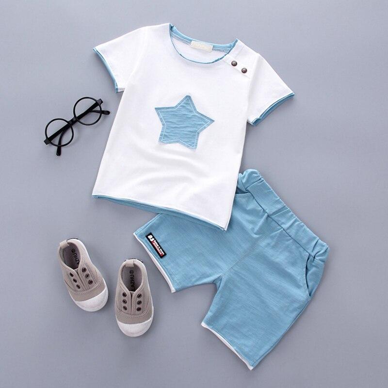 2Pcs Baby Boy Clothes Children Summer Toddler Clothing Set Cartoon Kids Cotton Cute Stars Suit FJ88