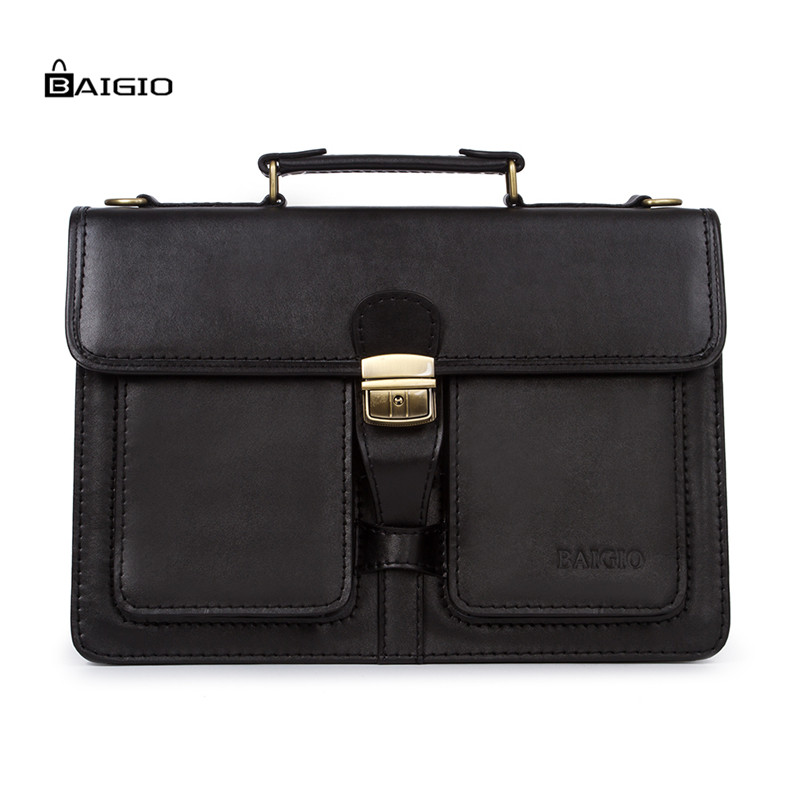 Baigio Fashion High Class Italian Multi-Pocket Top Men's Leather 15.6 Laptop Briefcase Messenger Shoulder Bag Handbag Tote carmina campus
