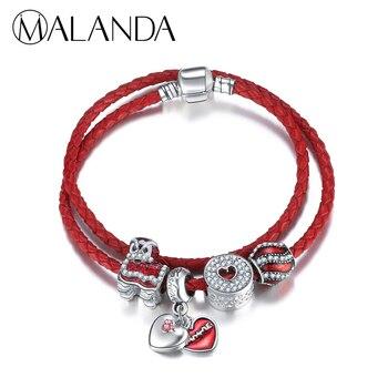 3947d7324fb2 MALANDA Marca Bola de La Manera Granos de Doble Círculo Cuerda Roja Cadena  Del Encanto pulseras y brazaletes Para Las Mujeres Joyería de La Boda ...