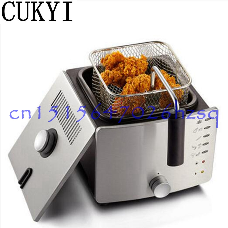 CUKYI 220V 900W Constant temperature electric frying machine multifunctional household smokeless commercial Deep fryers bear 220 v hand held electric blender multifunctional household grinding meat mincing juicer machine