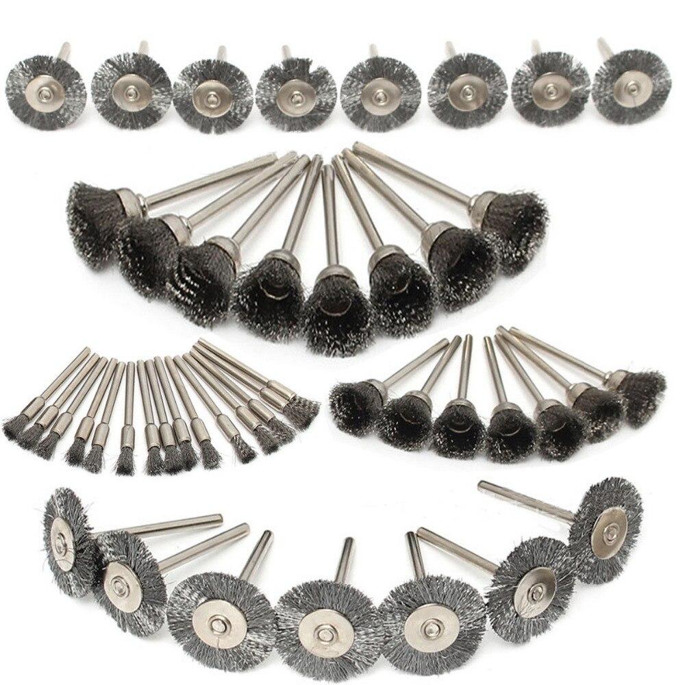 Новые высококачественные 45 компл. проволочной щеткой металла ржавчины колесо с ручкой провода колеса медная колеса T Тип полировки кисть