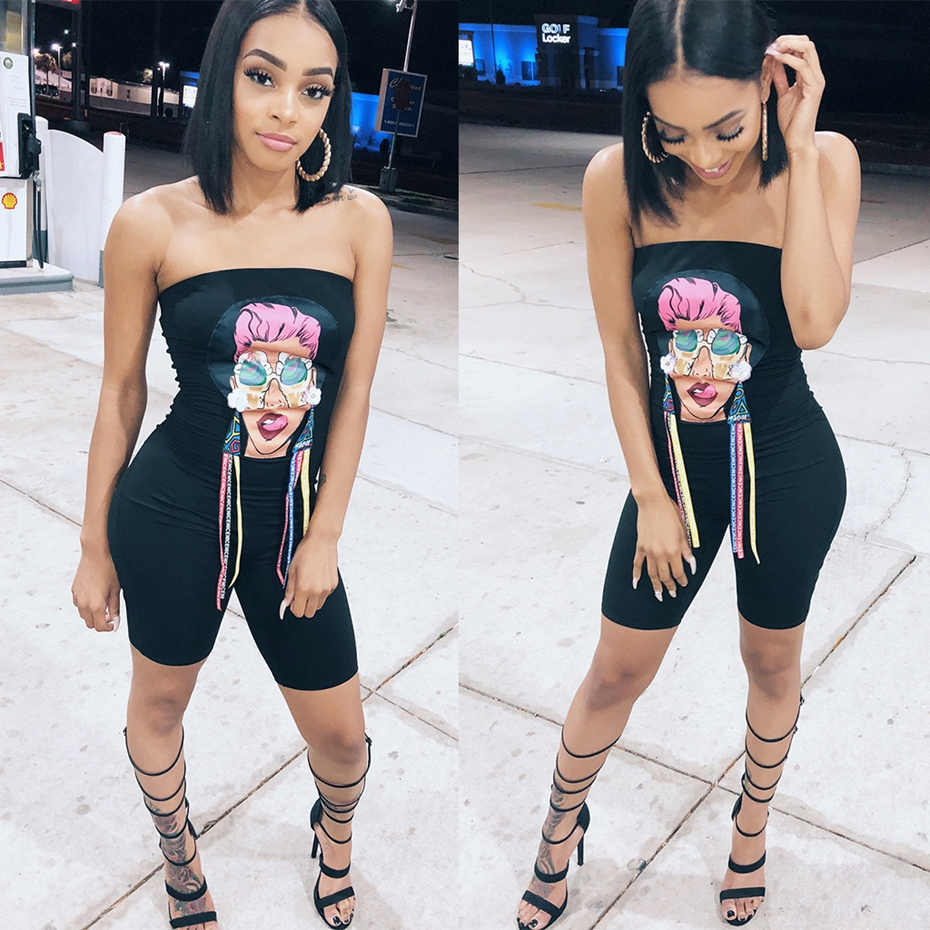ed0c15e0f7 HAOYUAN Character Print Sexy Playsuit 2019 Summer Overalls Off Shoulder  Clubwear Bodysuit Bodycon Shorts Rompers Womens Jumpsuit-in Rompers from  Women s ...