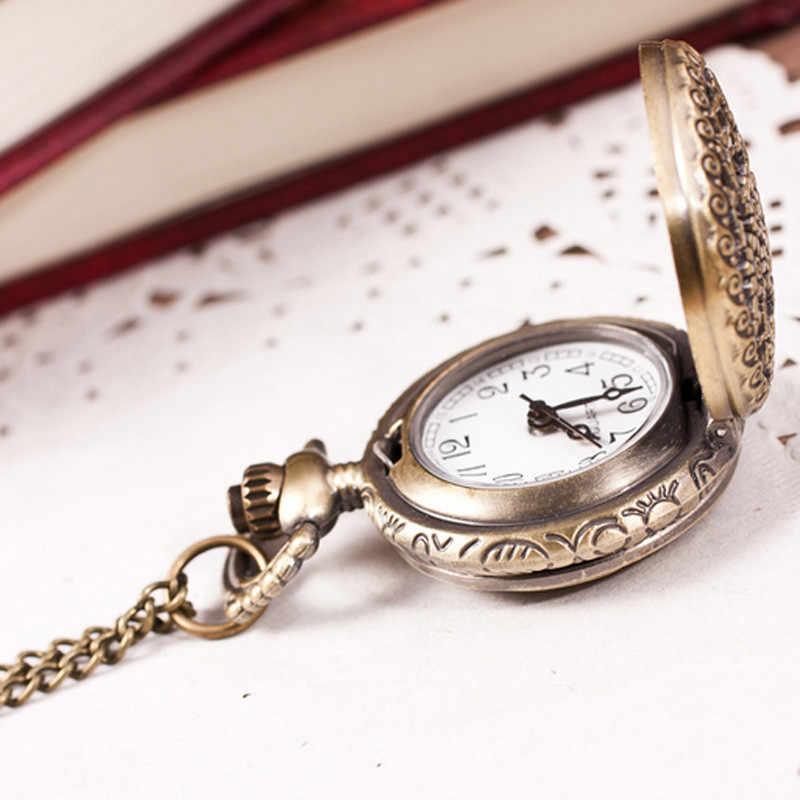 בציר רטרו ברונזה קוורץ שעון כיס תליון שרשרת שרשרת שעונים פרח/כתר שעה שעון Y5