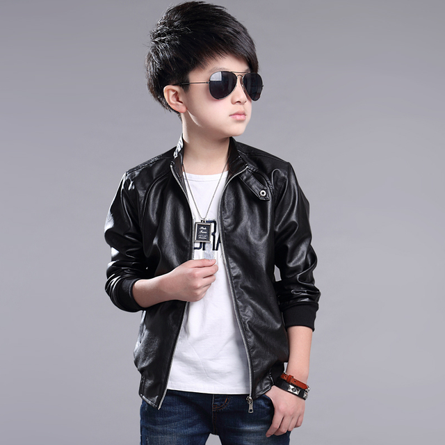 ff2a33051 Leather Jacket Solid Children Outerwear Baby BoysKids Girls And ...